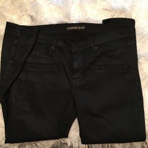 Express black coated moto jeans sz 12r